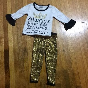 New Boutique Princess Crown Long Sleeve Outfit